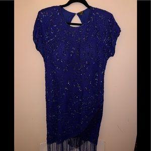 Vintage 1980s Silk Sequins Flapper Style Dress